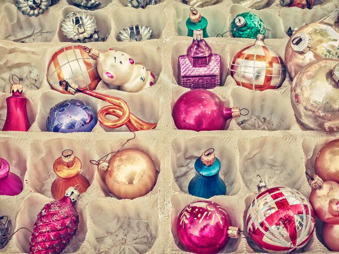 Colorful ornaments in storage box