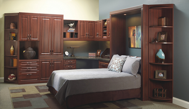 Custom wood murphy bed and office combination.