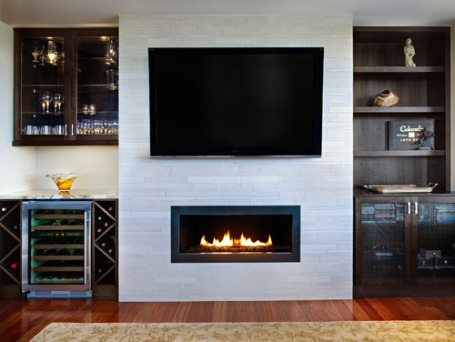 Contemporary living room with custom cabinetry