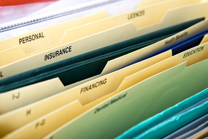 Organized file folders in office drawer