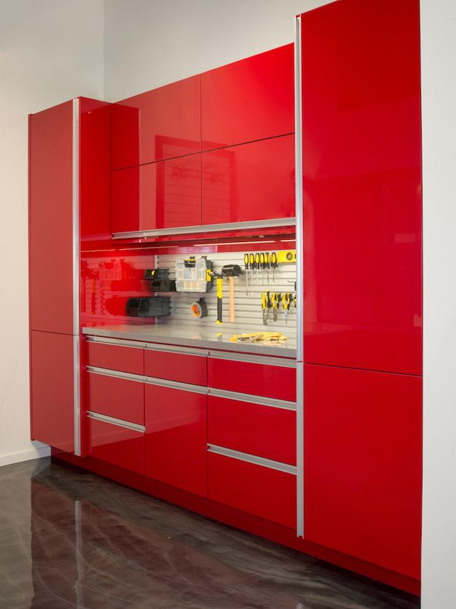 Red garage cabinets Denver, CO