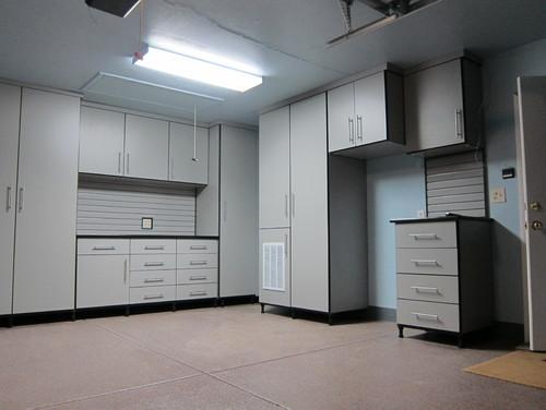 Dove gray custom garage cabinets Denver