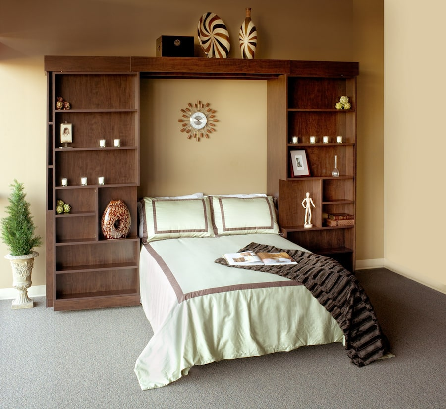 Open custom bookcase Murphy bed Denver