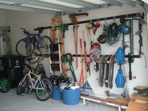 Organized garage with bikes and sports equipment