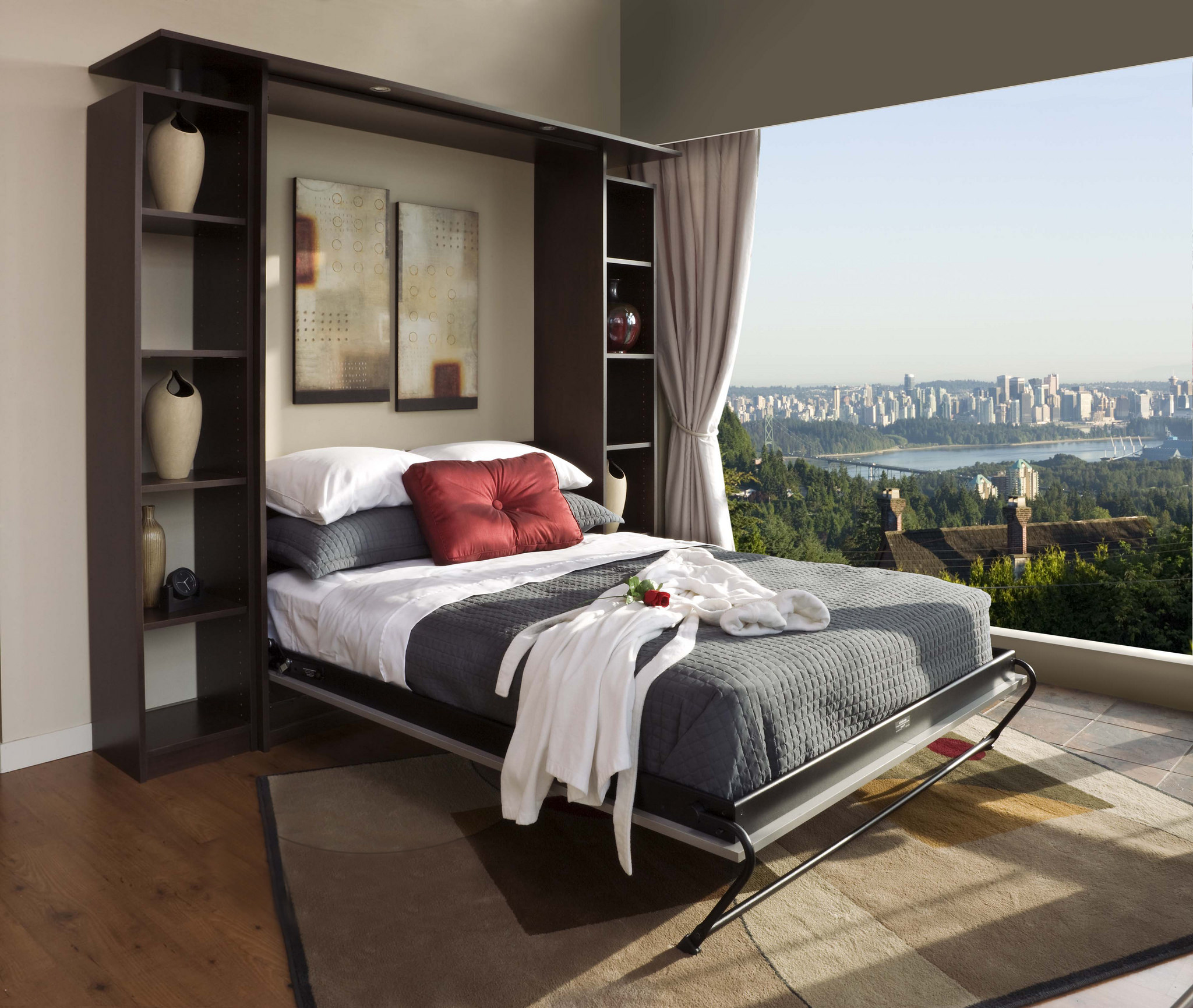 murphy bed in front of window view