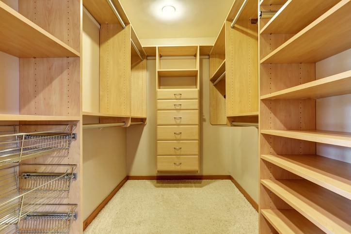 natural wood walk-in closet