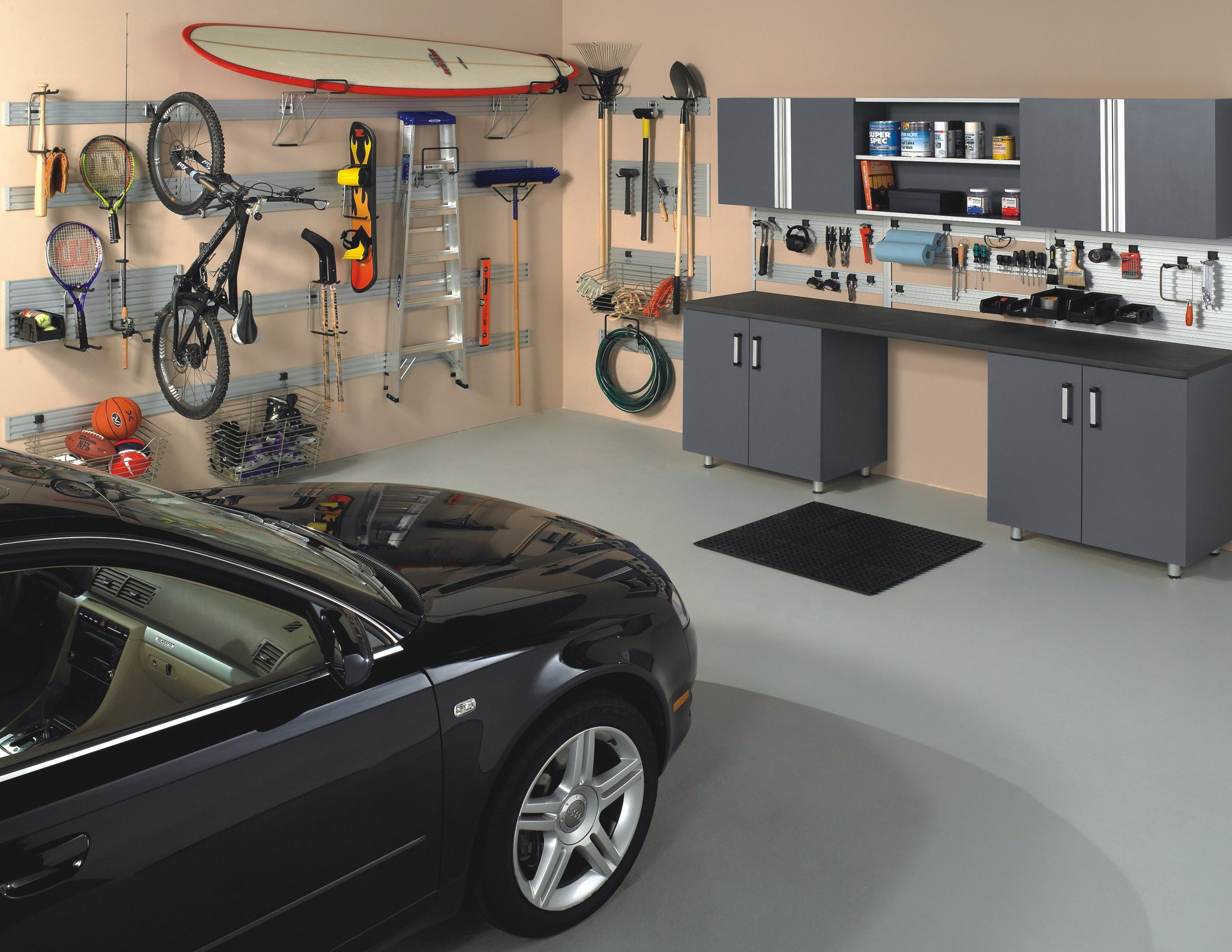 Garage storage system for bikes, sporting equipment, and tools