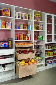pantry with baskets