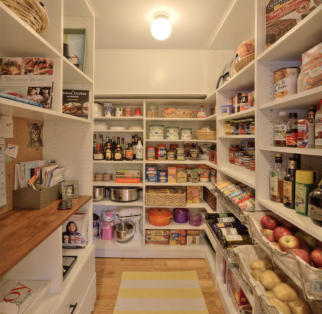 Well-organized walk-in pantry