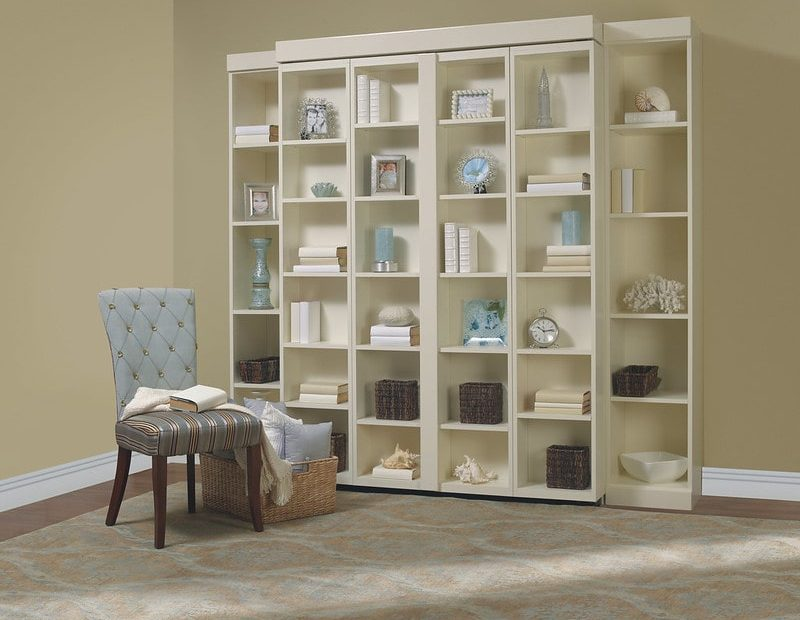 Reading nook with bookcase