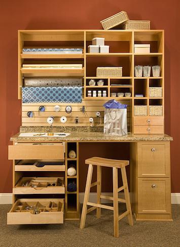 Well-organized hobby desk and shelf system