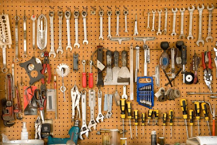 Slat wall tool storage in a Minneapolis garage