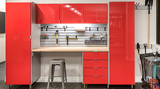 Garage with red high gloss doors
