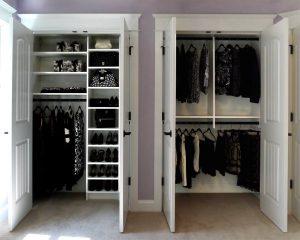 White custom closet shelving units