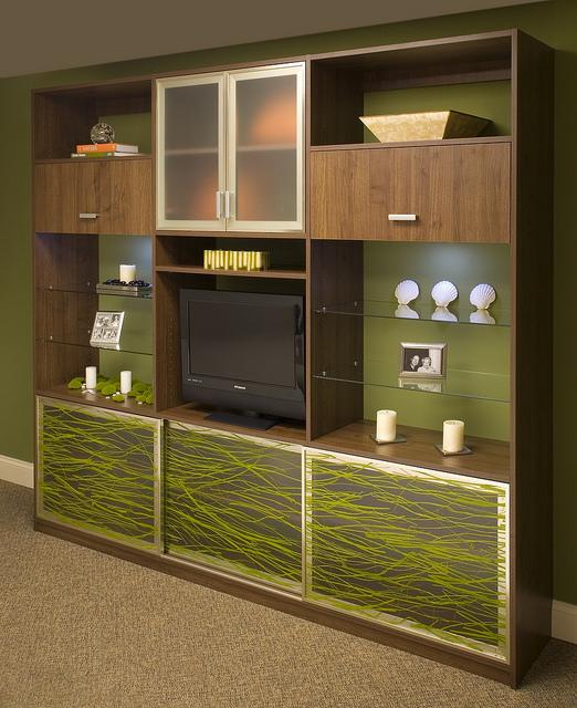 Custom entertainment center with glass shelves
