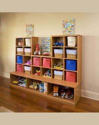 Custom cubby cabinet organizer