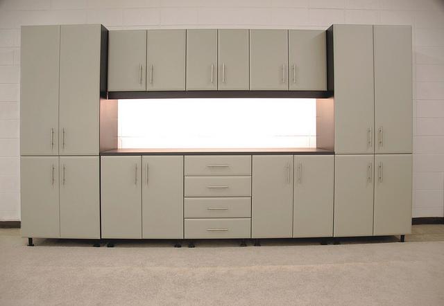 Taupe custom garage cabinets Philadelphia
