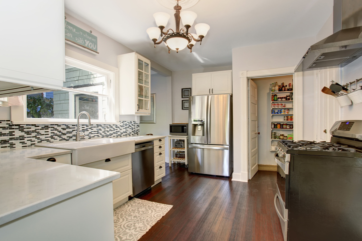 Clean kitchen with pantry storage
