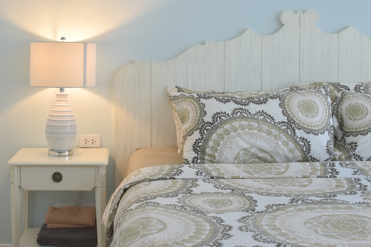 classic relaxing guest bedroom with storage