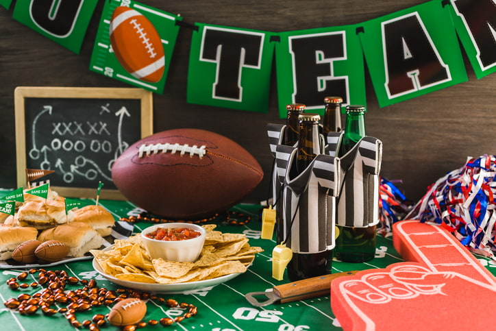 Football game party snacks and chips