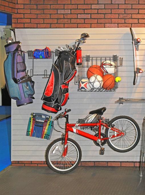 hanging bike storage in a garage
