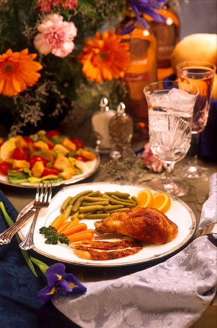 Thanksgiving dinner plate and table