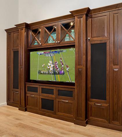custom den and TV shelving Philadelphia