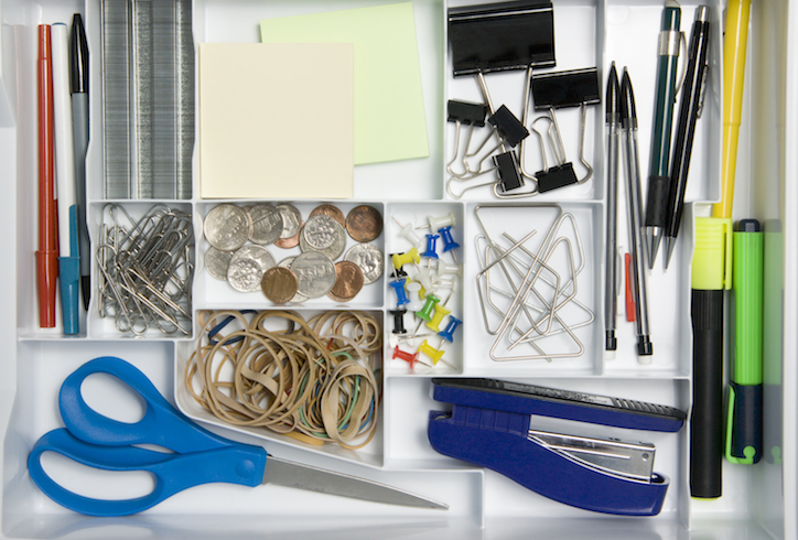 Tidy office drawer with divider