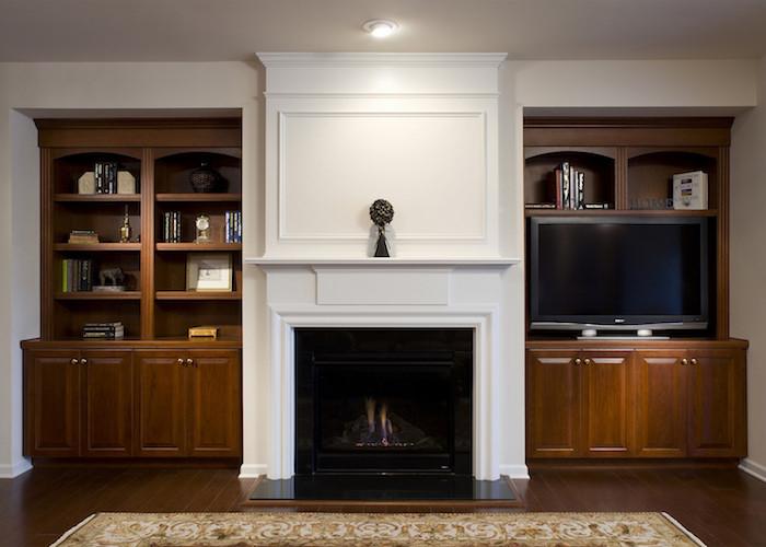 modern home media center built-ins