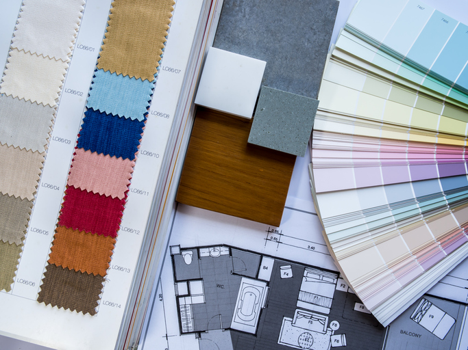 home design materials and color swatches