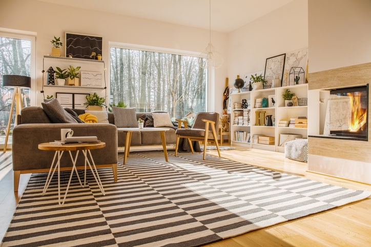 cozy and organized scandinavian inspired living room