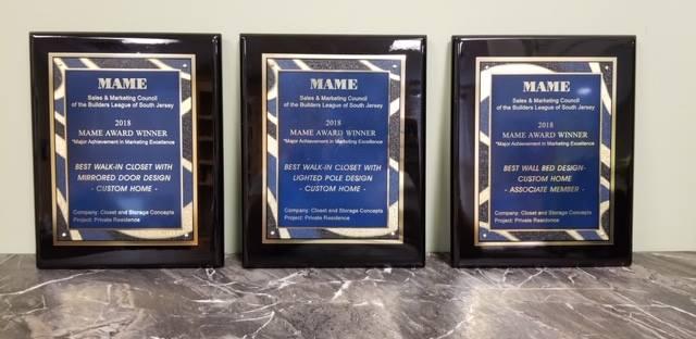 Closet & Storage Concepts South Jersey award plaques 2018