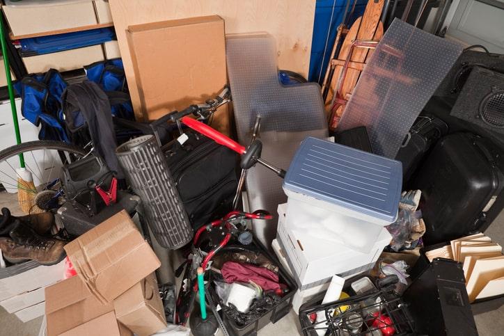 messy storage in garage