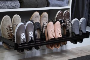 pullout shoe rack in custom closet South Jersey