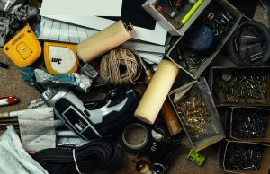 messy junk drawer with extra tools