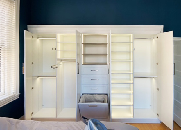 custom closet wardrobe with built-in lighting