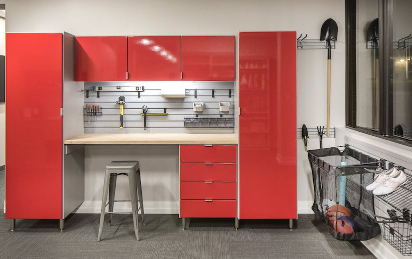 built-in garage red cabinets and workbench new jersey