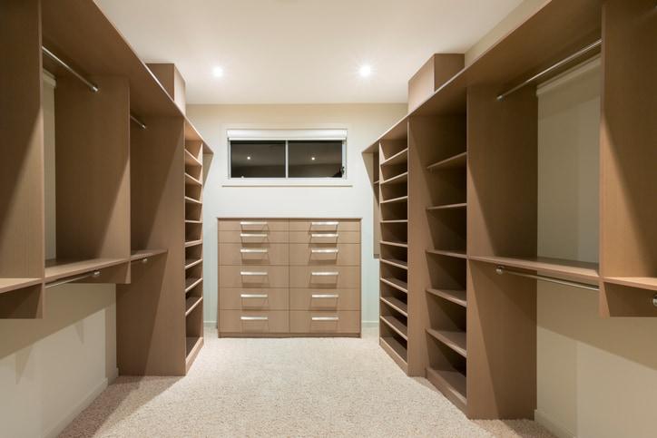 beige empty contemporary walk-in custom closet