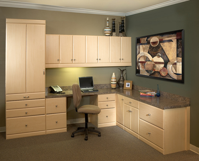 Home office with ample storage space
