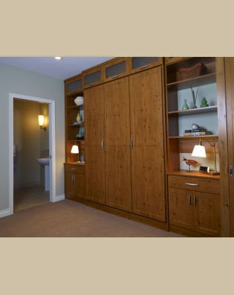 Closed murphy bed unit.