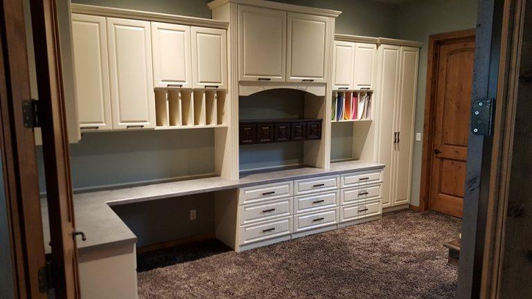Builtin wood craft room storage in Scottsdale, AZ.