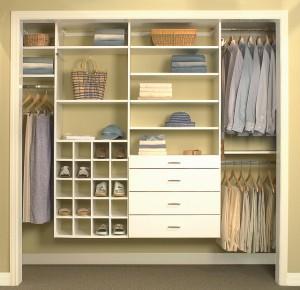 Wall mounted custom reach-in closet