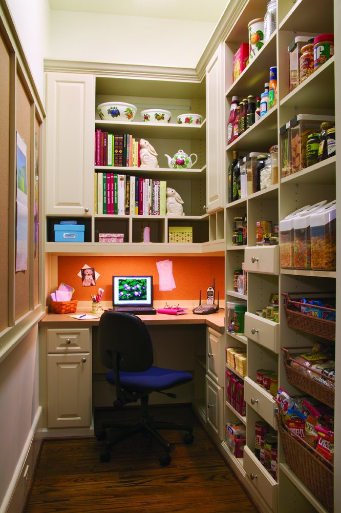 Pantry shelves with built-in desk