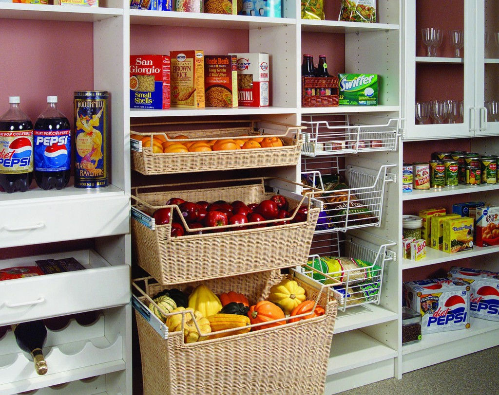 Pantry adjustable shelving with baskets