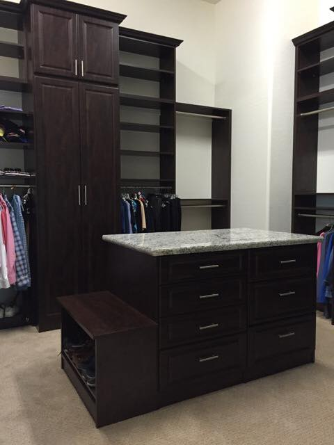 Closet island in modern custom closet