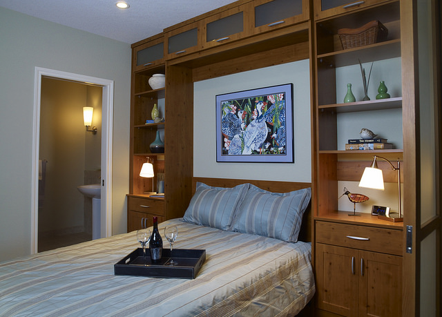 Built-in bedroom murphy bed storage