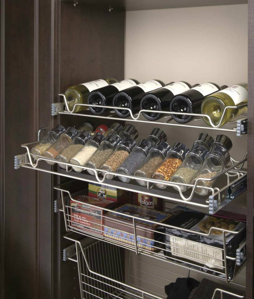 Wine and spice pantry shelving