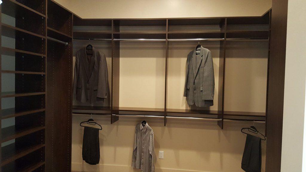 Custom closet hanging areas