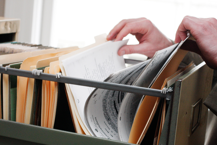 Office paperwork in filing cabinet