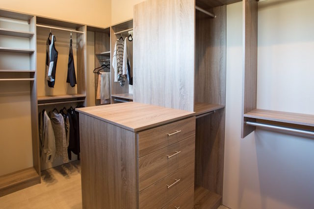 Taupe custom walk-in closet system Scottsdale